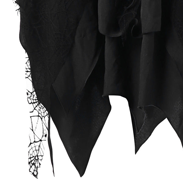 Halloween Lace Up Layered Handkerchief Dress