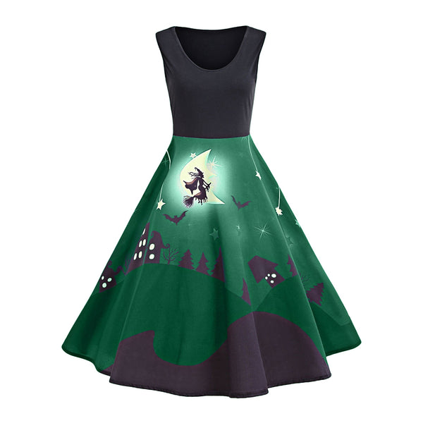 Halloween Bat Castle Vintage A Line Dress
