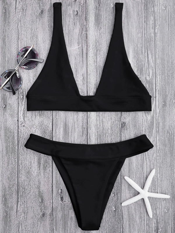 High Cut Plunge Bikini Set