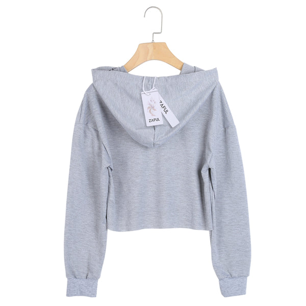 Batwing Sleeve Ripped Distressed Sweatshirt String Crop Hoodie