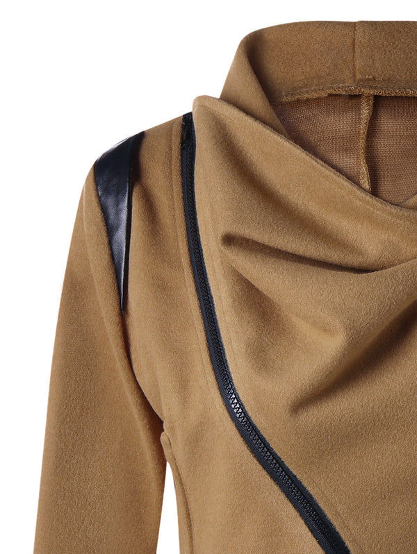 Cowl Neck Zip Cuff Asymmetrical Jacket