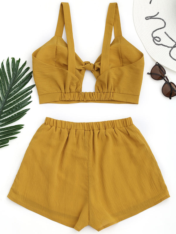 Cami Tied Crop Top with Shorts
