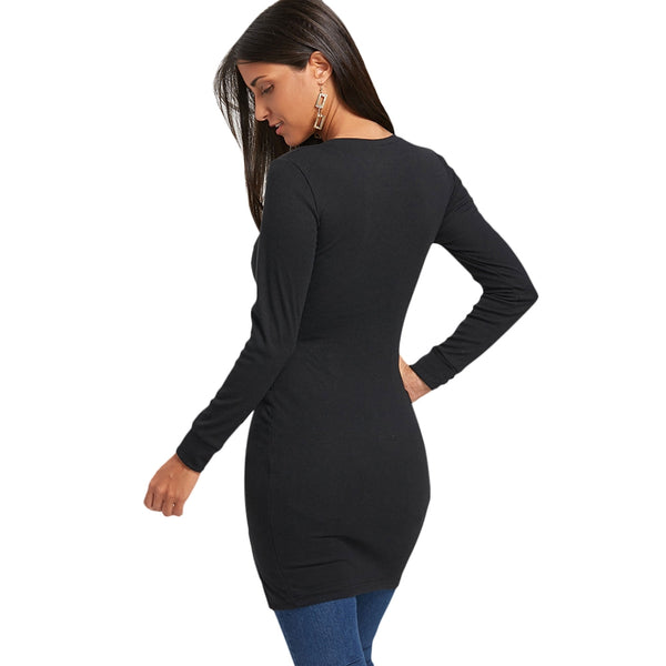 Lace Up Long Sleeve Two Tone Dress