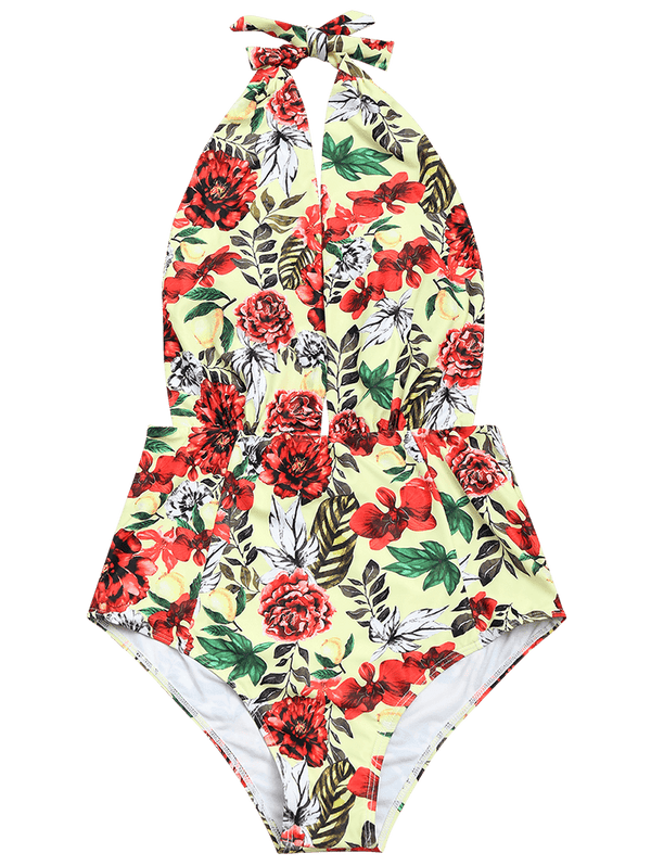 Floral Open Back Low Cut Swimwear