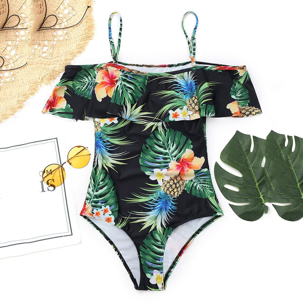 Pineapple Leaf Print Swimwear