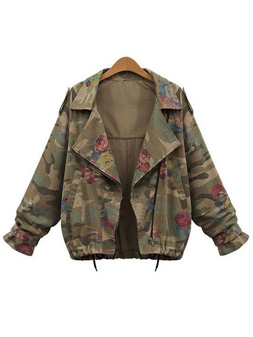 Plus Size Zip Up Camouflage Jacket