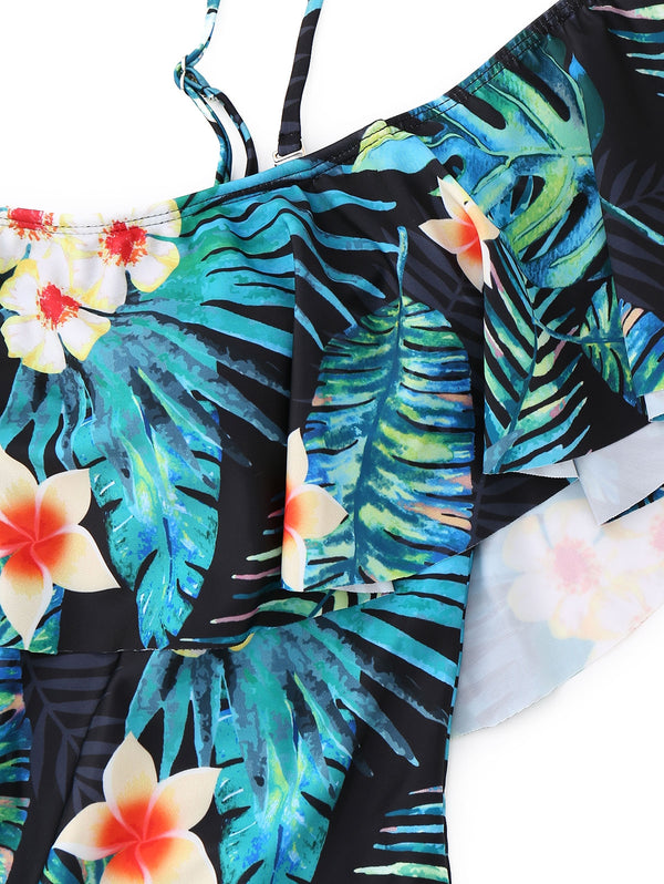Leaf Print Ruffle One Piece Swimsuit