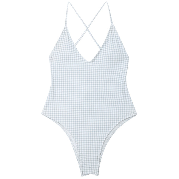 One Piece Checked High Cut Swimwear