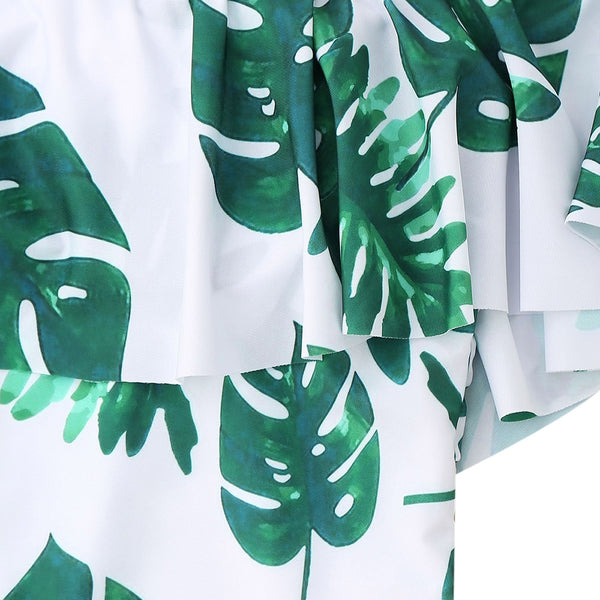 Palm Leaf Print Ruffle One Piece Swimsuit