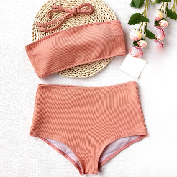 High Waisted Ribbed Texture Bandeau Bikini