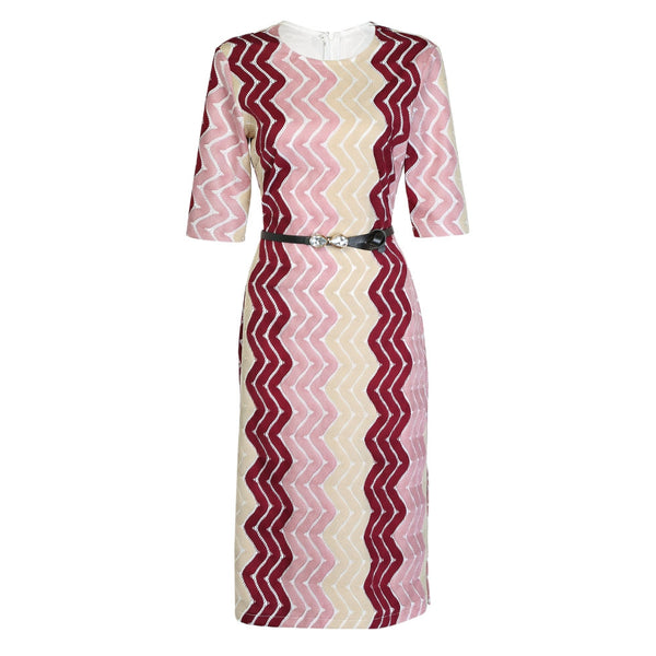 Trendy Round Collar Half Sleeve Print Slit Belted Women Dress