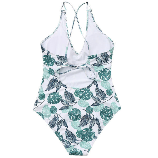Leaf Print Cross Back Swimwear
