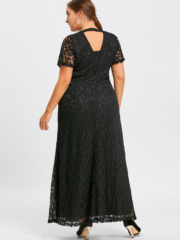 Plus Size Maxi Lace Gown Dress