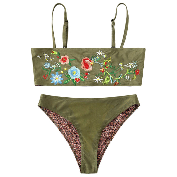 Floral Embroidered Cami Tube Bikini Set