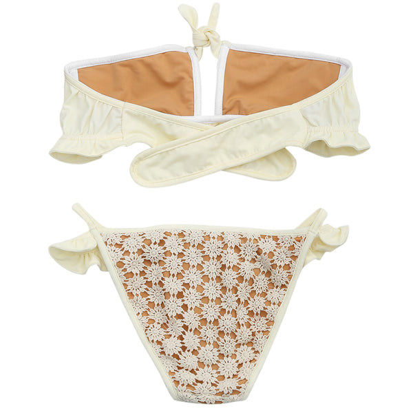 Cutout Crochet Flower Bandeau Bikini Set