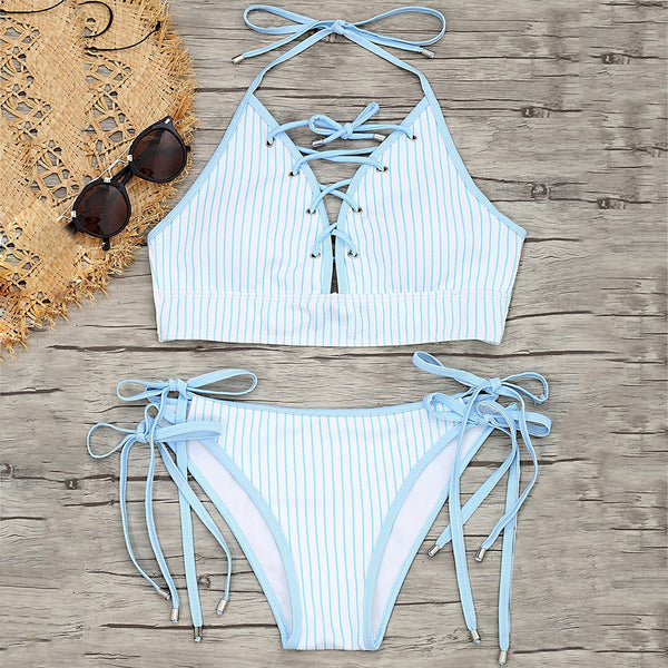 Tie Side Striped Lace-up Bikini Set