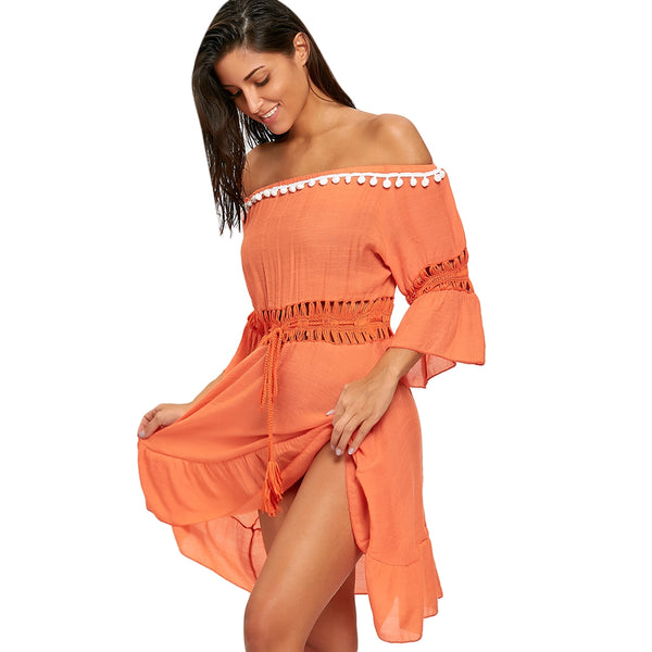 Off Shoulder Flounce Cover-up Dress