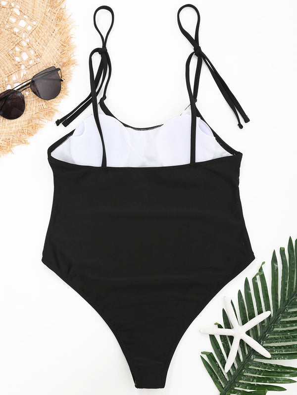 One Piece Cami Shoulder Strap Swimsuit