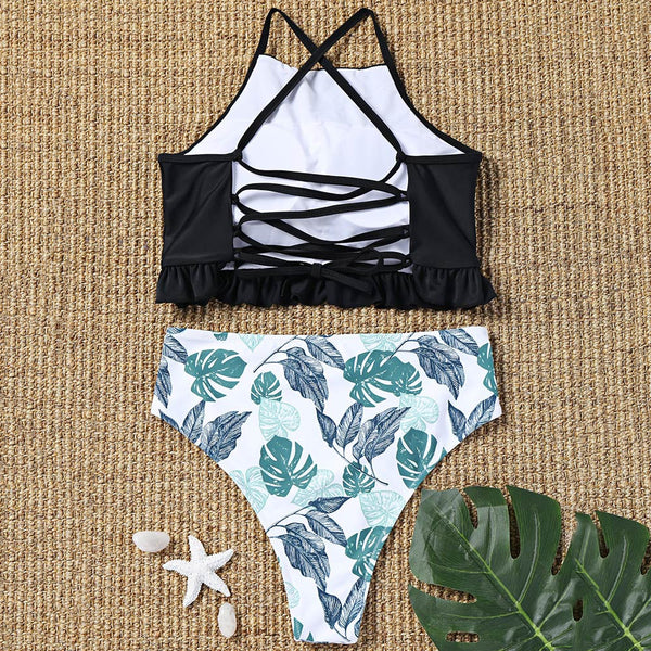 Lace Up Swim Top and Palm Leaf Bottoms