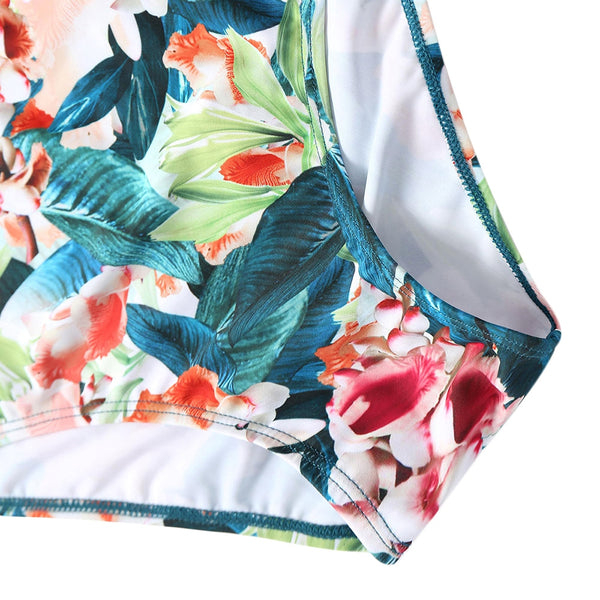 Jungle Flower Pattern Flounce Swimsuit