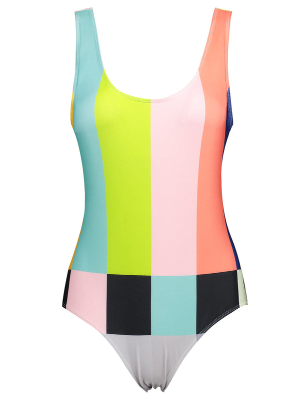 Color Block Backless Plus Size Swimsuit