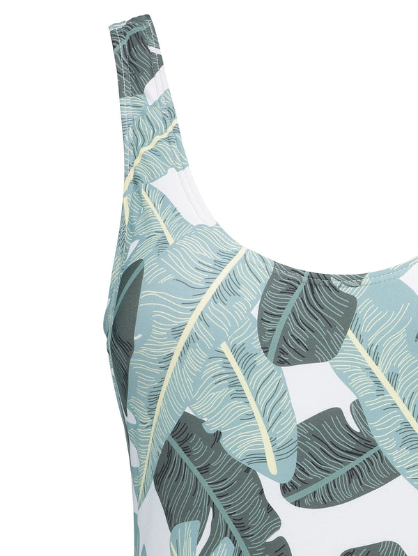 Leaves Print Plus Size Backless Swimsuit