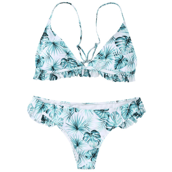 Leaf Frilled Bikini Set