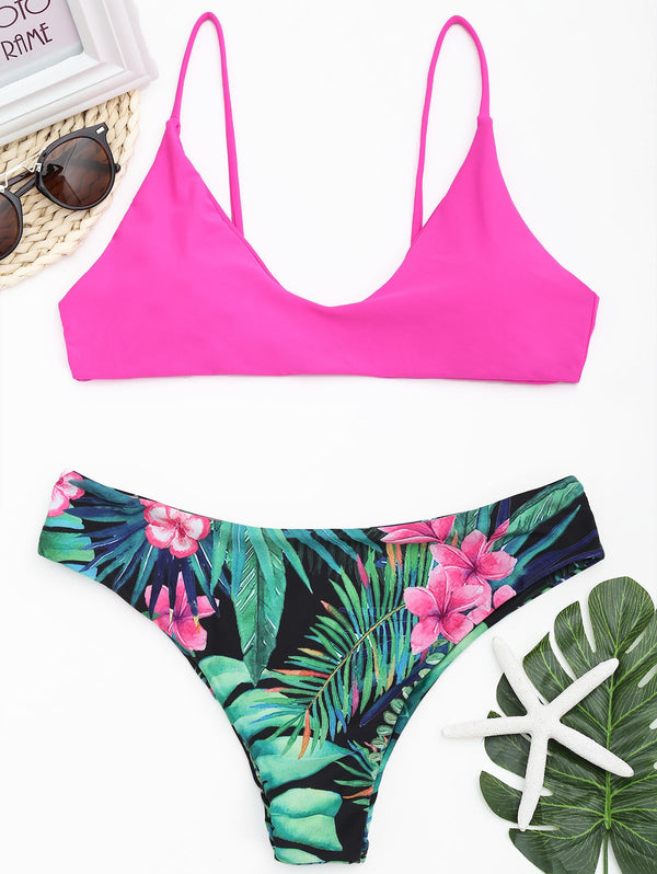 Contrast Jungle Print Micro Bikini Set