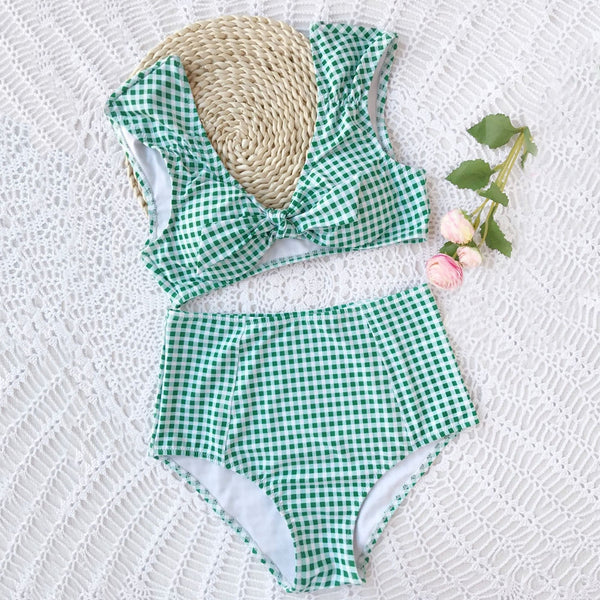 Checked High Waisted Tie Front Bikini