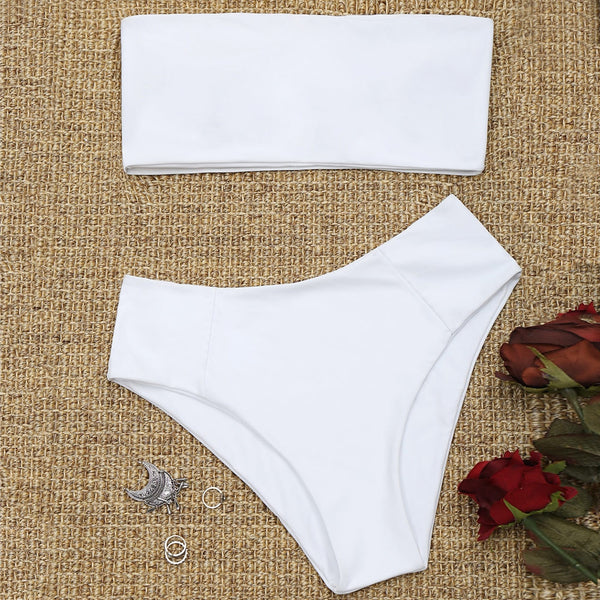 Bandeau Collar High Cut Bikini Set