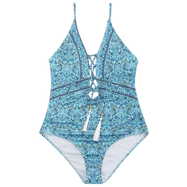 One Piece Floral Lace-up Swimsuit