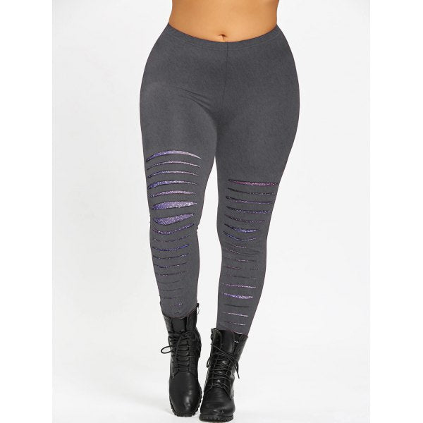 Plus Size Galaxy Ripped Leggings