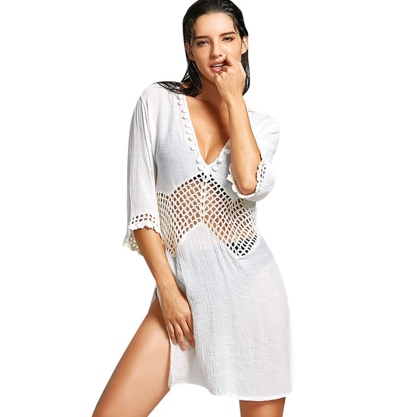 Plunge Neck Crochet Insert Slit Cover Up Dress