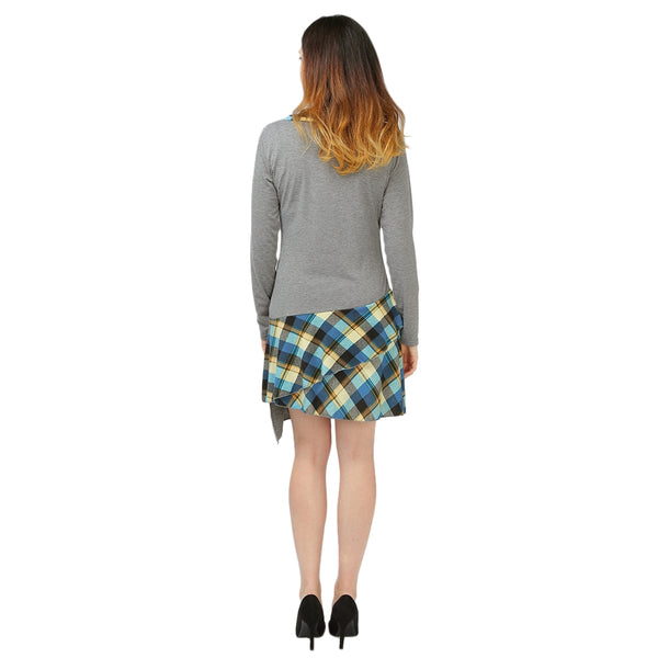 Long Sleeve Layered Plaid Panel Dress