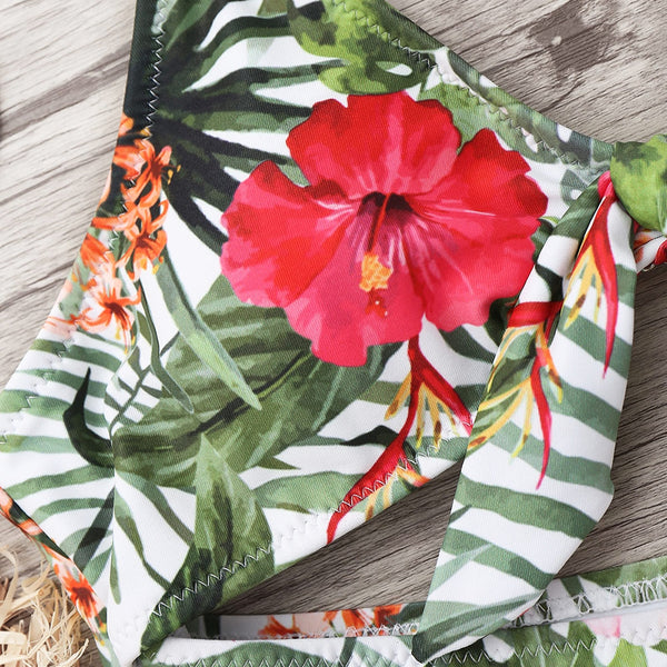 Cut Out Tied Floral Leaf Swimwear