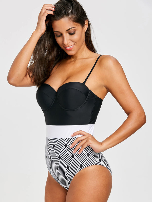 One Piece Underwire Stripe Swimsuit