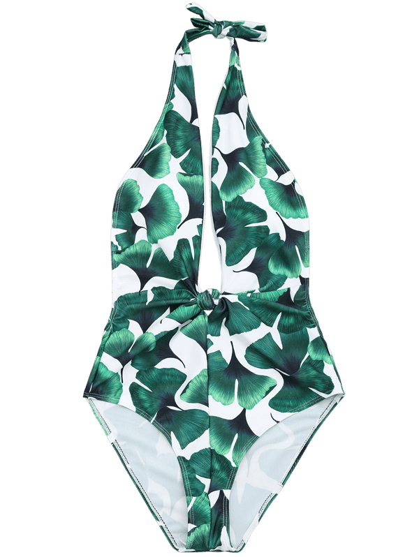 Ginkgo Leaf Print Plunging Neck Swimwear