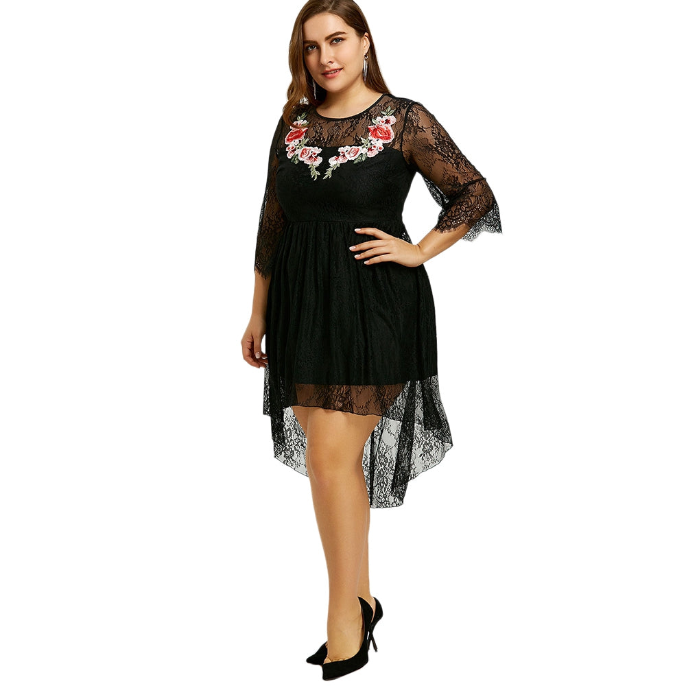 Plus Size Embroidery Lace High Low Dress