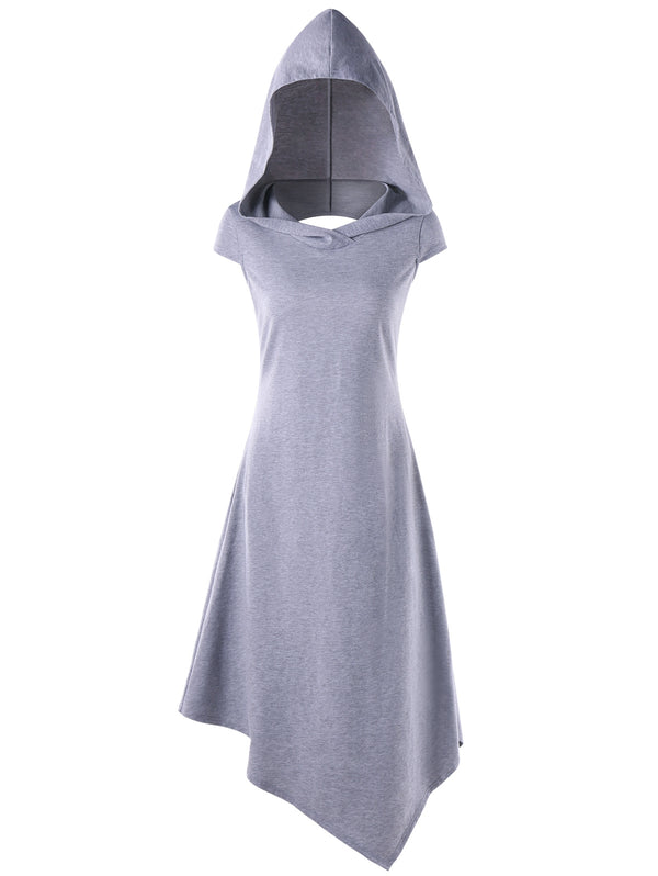 Asymmetrical Hooded Cut Out Midi Dress
