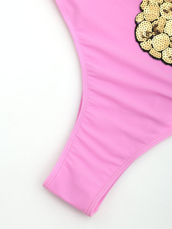 Sequined Pineapple One Piece High Cut Swimsuit