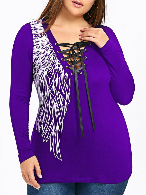 Plus Size Tie Up Wings Print Lace Panel Top