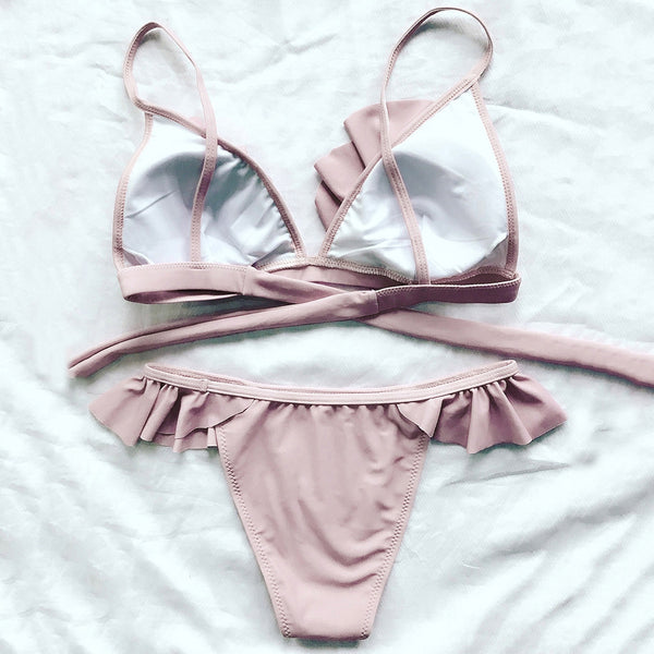 Frilly High Leg Bikini Set