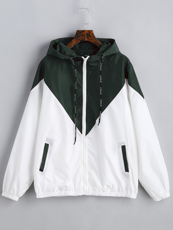 Hooded Two Tone Windbreaker Jacket
