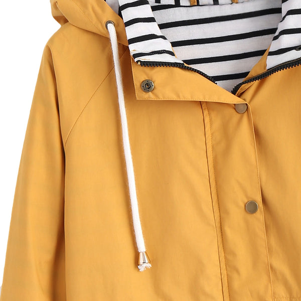 Snap Button Stripes Panel Hooded Jacket
