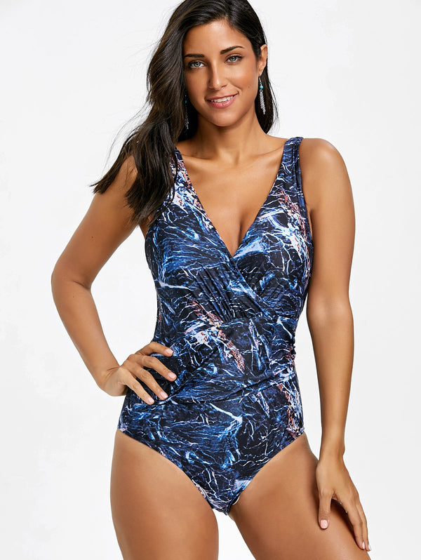 Surplice Backless Printed One Piece Swimsuit
