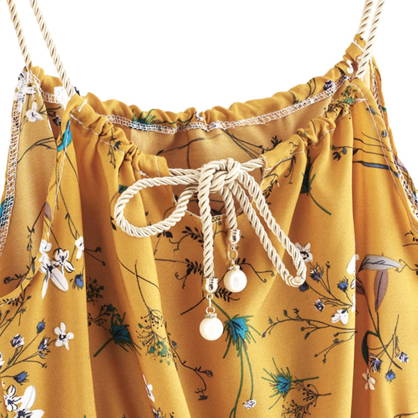 Floral Faux Pearls Braided Staps Mini Dress