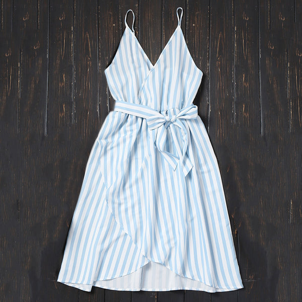 Striped Cami Dress with Belt