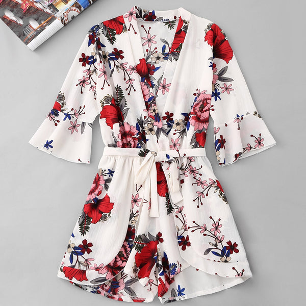 Belted Floral Tiered Romper