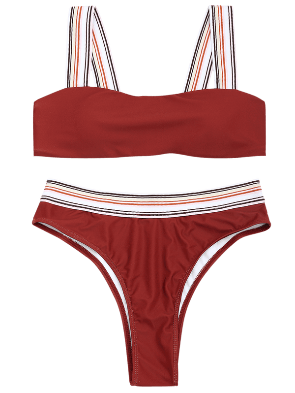 Striped Trim High Cut Thong Bikini Set