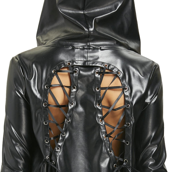 Back Lace Up Asymmetric PU Leather Jacket